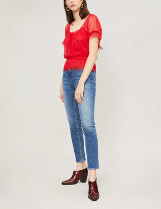 Paige Sarah faded skinny mid-rise jeans