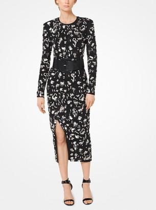 Michael Kors Leopard Sequined Stretch Pebble-Crepe Dress