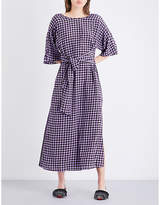 Diane von Furstenberg Gingham-print silk-crepe de chine midi dress