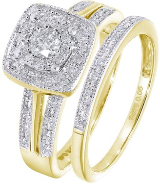 Love Diamond 9ctYellow Gold 50 Point Diamond Square Set Split Shoulder Bridal Set Of Two Rings