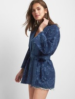 Gap Indigo floral wrap jacket
