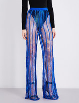 Balmain Wide-leg metallic open-knit trousers