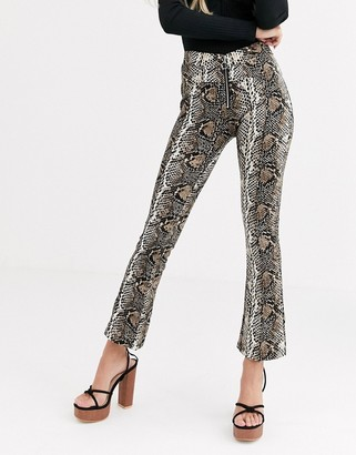 Qed London QED London zip front trousers in snake-Multi
