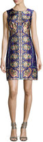 Nanette Lepore Sleeveless Floral Paisley Silk Cocktail Dress, Plum/Multicolor