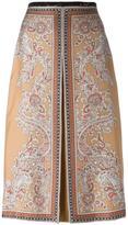 Alexander McQueen paisley box pleat skirt