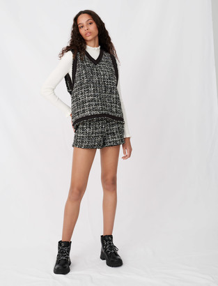 Maje Tweed-style top, contrast fringed trims
