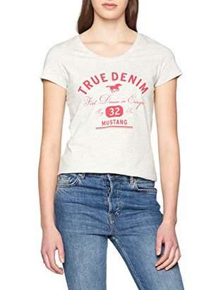 Mustang womens Logo Tee Special Plain Slim Fit Short Sleeve T - Shirt,S