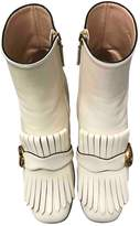 Gucci Marmont White Leather Ankle boots