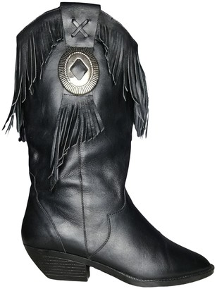 Non Signé / Unsigned Non Signe / Unsigned Black Leather Boots