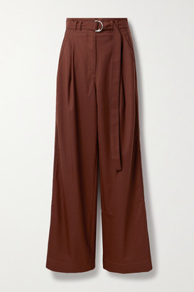 Proenza Schouler White Label Belted Pleated Twill Wide-leg Pants - Claret
