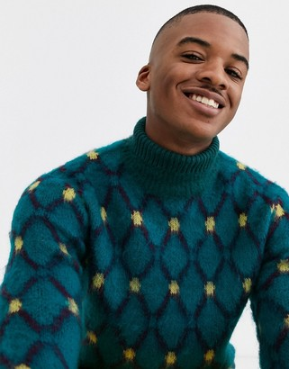 Asos Design DESIGN knitted roll neck jumper in argyle pattern-Blue