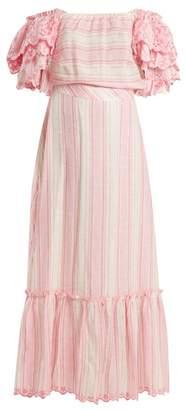 Gül Hürgel Striped Off-the-shoulder Dress - Womens - Pink Stripe