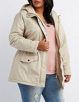 Charlotte Russe Plus Size Quilted-Trim Hooded Anorak Jacket