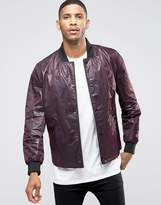 Asos Lightweight Textured Bomber Jacket In Burgundy
