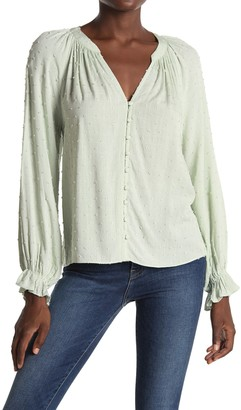 ALL IN FAVOR Clip Dot Long Sleeve Button Front Top