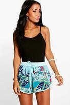 Boohoo Hollie Tropical Print Woven Runner Shorts