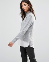 B.young Gray Sweater with Shirting Hem