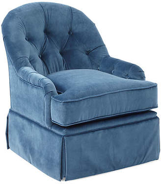 One Kings Lane Marlowe Swivel Club Chair - Peacock Velvet