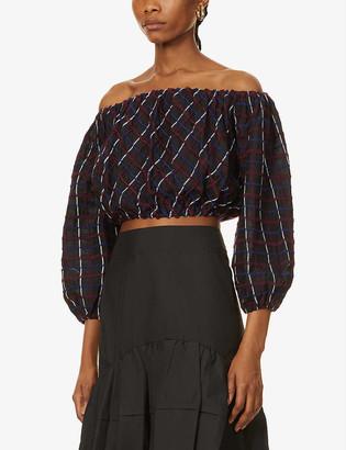 Merlette New York Chalton off-the-shoulder cropped cotton top