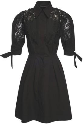 Alberta Ferretti Stretch Poplin Shirt Dress W/ Macrame
