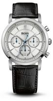 Hugo Boss 1512746 Black Crocodile Embossed Leather Strap Chronograph Watch One Size Assorted-Pre-Pack