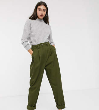 Asos Tall DESIGN Tall ovoid pleat front peg pants-Green