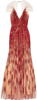 Jenny Packham Open-back Embellished Tulle Gown