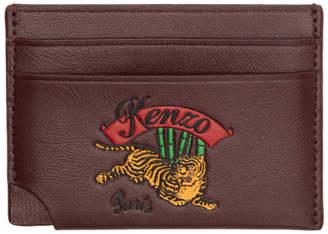 Kenzo Burgundy Jumping Tiger Card Holder