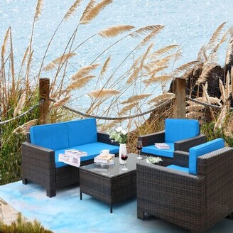 Caillat Patio 4 Piece Rattan Sofa Seating Group with Cushions Latitude Run Cushion Color: Red, Frame Color: Brown