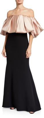 Badgley Mischka Couture Ruffled Taffeta Off-the-Shoulder Gown