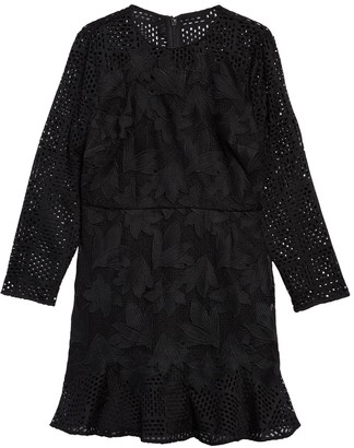 Reiss Baptiste Leaf Applique Long Sleeve Fit & Flare Dress
