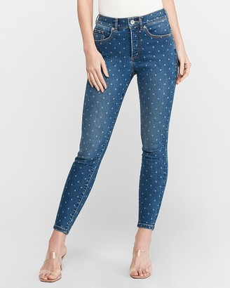Express High Waisted Denim Perfect Polka Dot Ankle Skinny Jeans