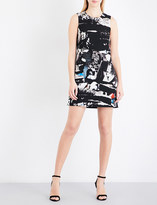 Versace Abstract-print sleeveless crepe mini dress