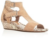 Donald J Pliner Eden Snake Embossed Metallic Demi Wedge Sandals