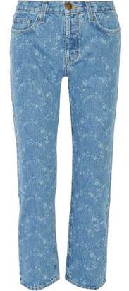 Current/Elliott The Original Cropped Mid-rise Printed Straight-leg Jeans