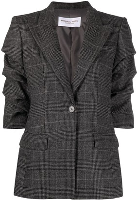 MICHAEL Michael Kors Ruched-Sleeve Single-Breasted Blazer