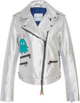 Mira Mikati Hand-Painted Metallic Leather Jacket