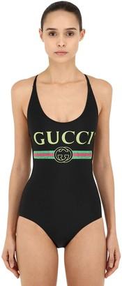 Gucci Logo Print Lycra One Piece Swimsuit
