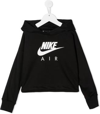 Nike Kids Logo-Print Cropped Hoodie