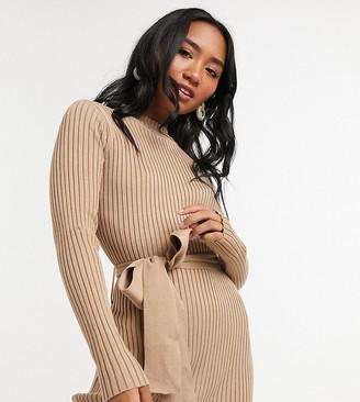 New Look Petite tie-waist rib midi dress in camel