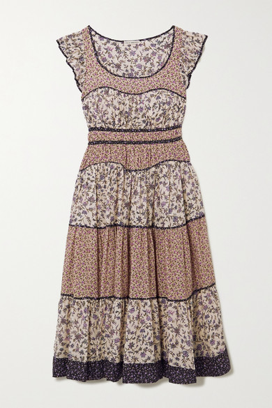 Ulla Johnson Odelia Ruffled Tiered Floral-print Cotton-blend Voile Midi Dress - Cream