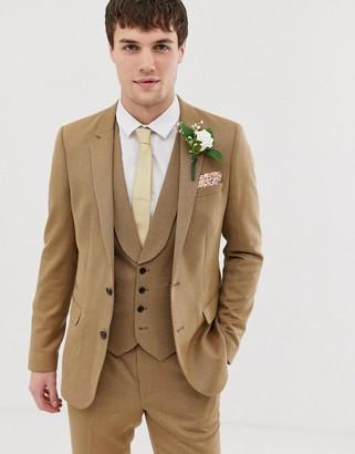 ASOS DESIGN wedding skinny suit jacket in camel twill