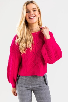 francesca's Averie Cable Pullover Sweater - Burgundy
