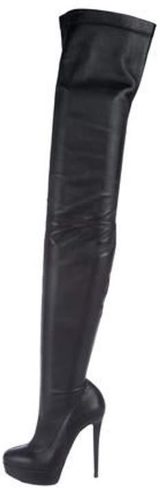 8590086e413 Monicarina Over-The-Knee Leather Platform Boots Black Monicarina  Over-The-Knee Leather Platform Boots