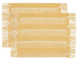 Sensi Set Of Two Fringed Shell-embellished Placemats - Beige