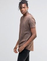 Asos Longline T-Shirt With Raw Curved Hem And Rust Acid Wash