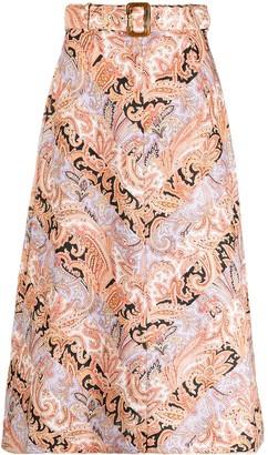 Zimmermann A-line paisley-print skirt