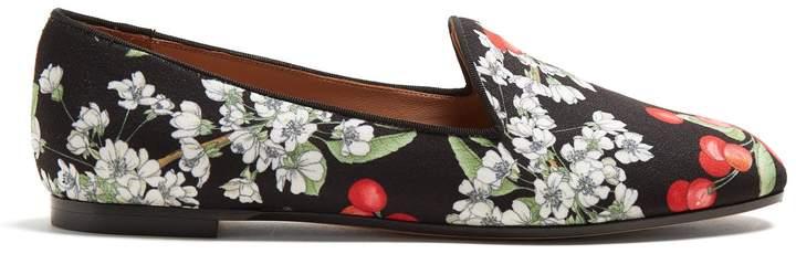 Aquazzura Formentera cherry blossom-print loafers