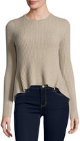 Marled by Reunited Cashmere Crewneck High-Low Sweater, Oatmeal