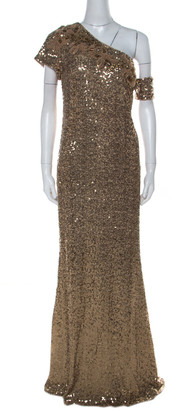 Badgley Mischka Gold Sequin Embellished Detail One Shoulder Gown XL